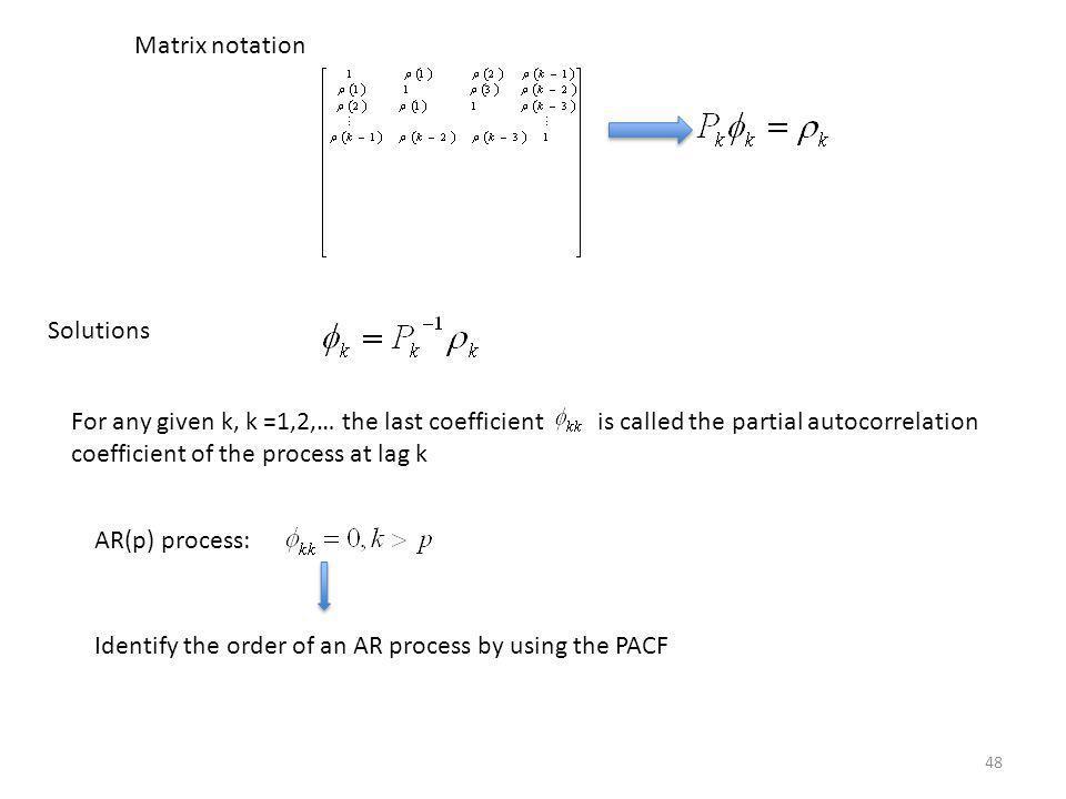 Matrix notation Solutions.