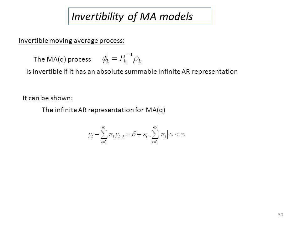 Invertibility of MA models