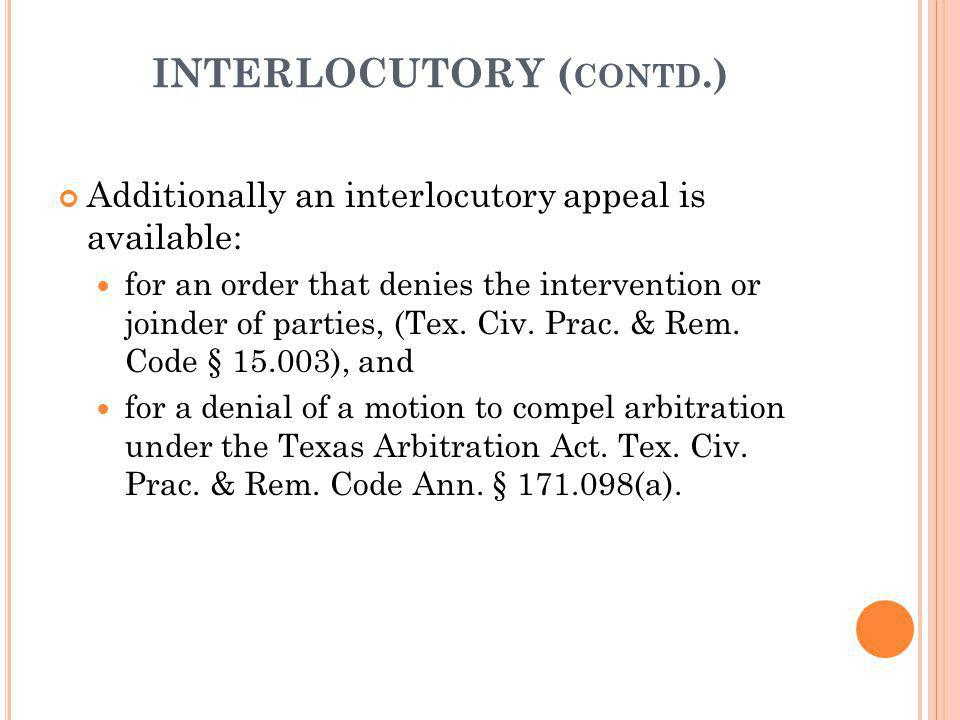 INTERLOCUTORY (contd.)