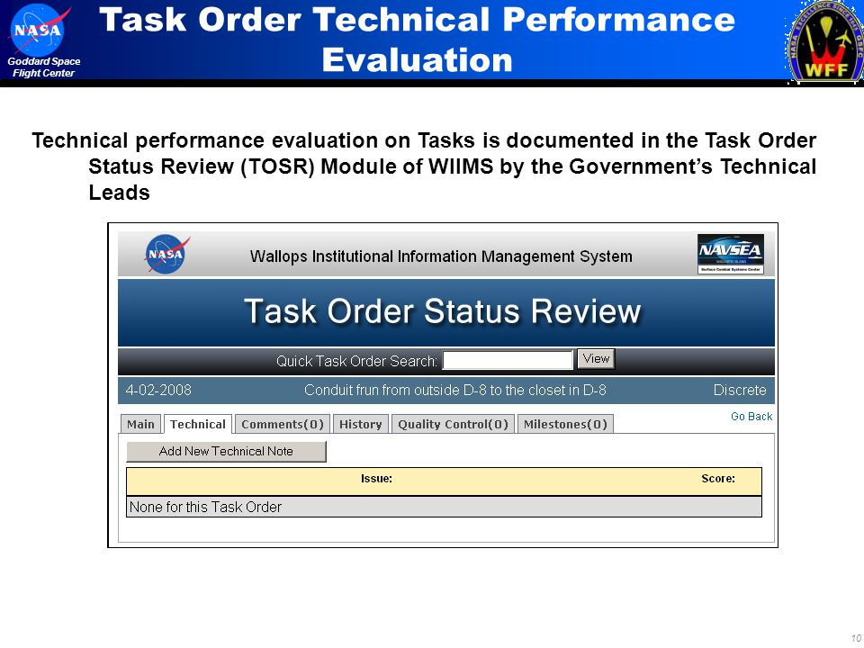 Task Order Technical Performance Evaluation