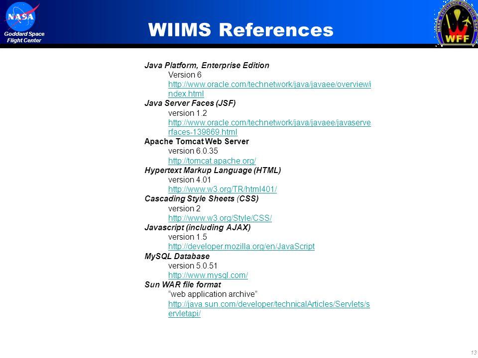 WIIMS References Java Platform, Enterprise Edition Version 6