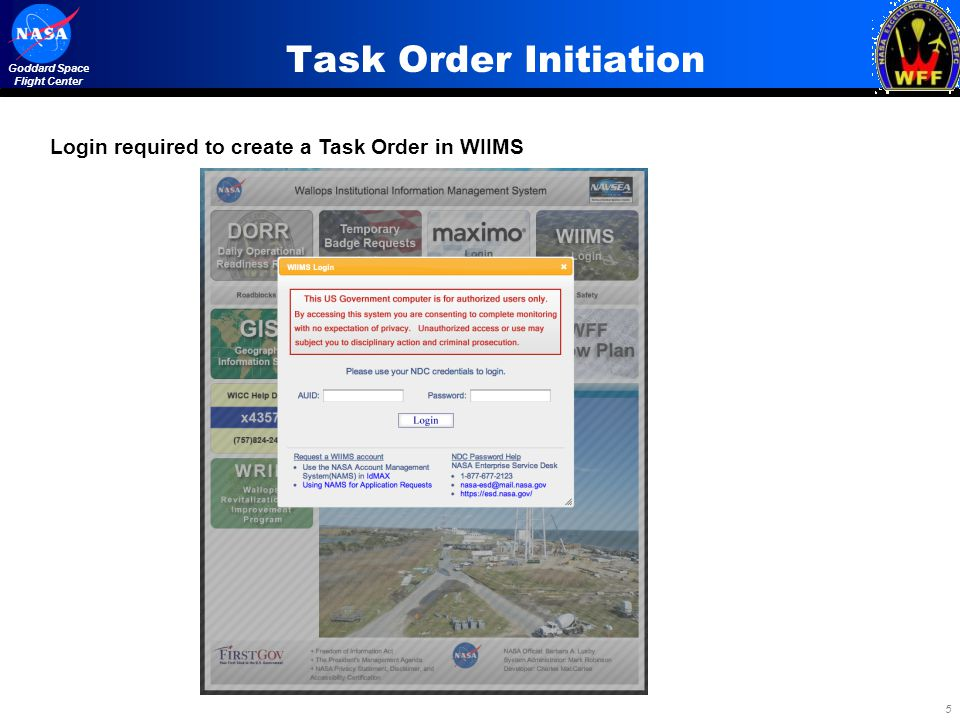 Task Order Initiation Login required to create a Task Order in WIIMS