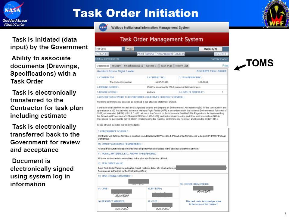Task Order Initiation TOMS