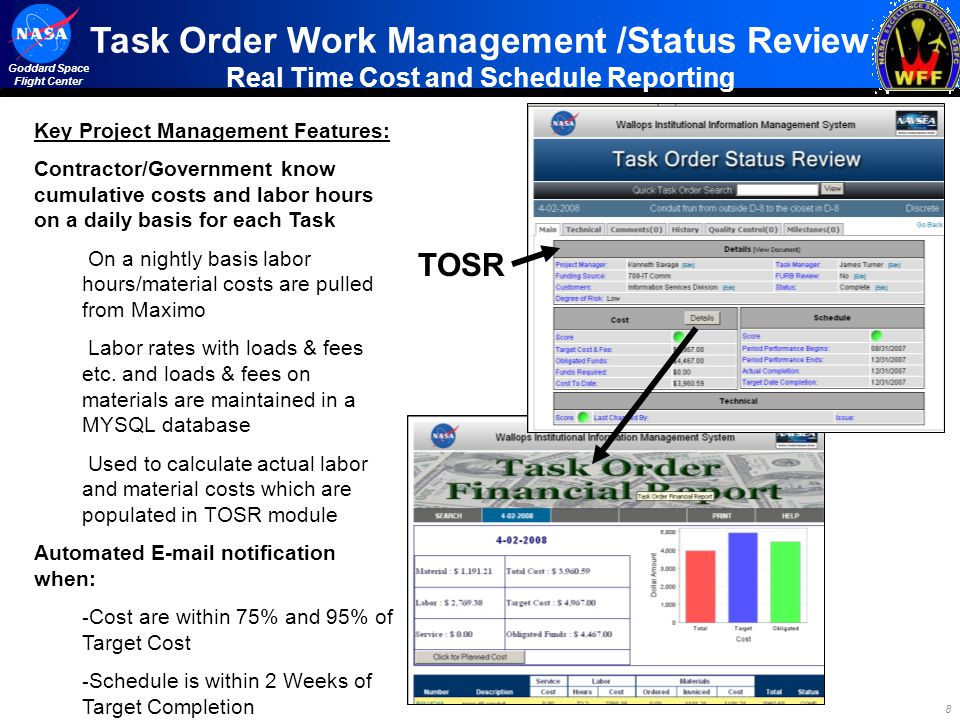 Task Order Work Management /Status Review Real Time Cost and Schedule Reporting