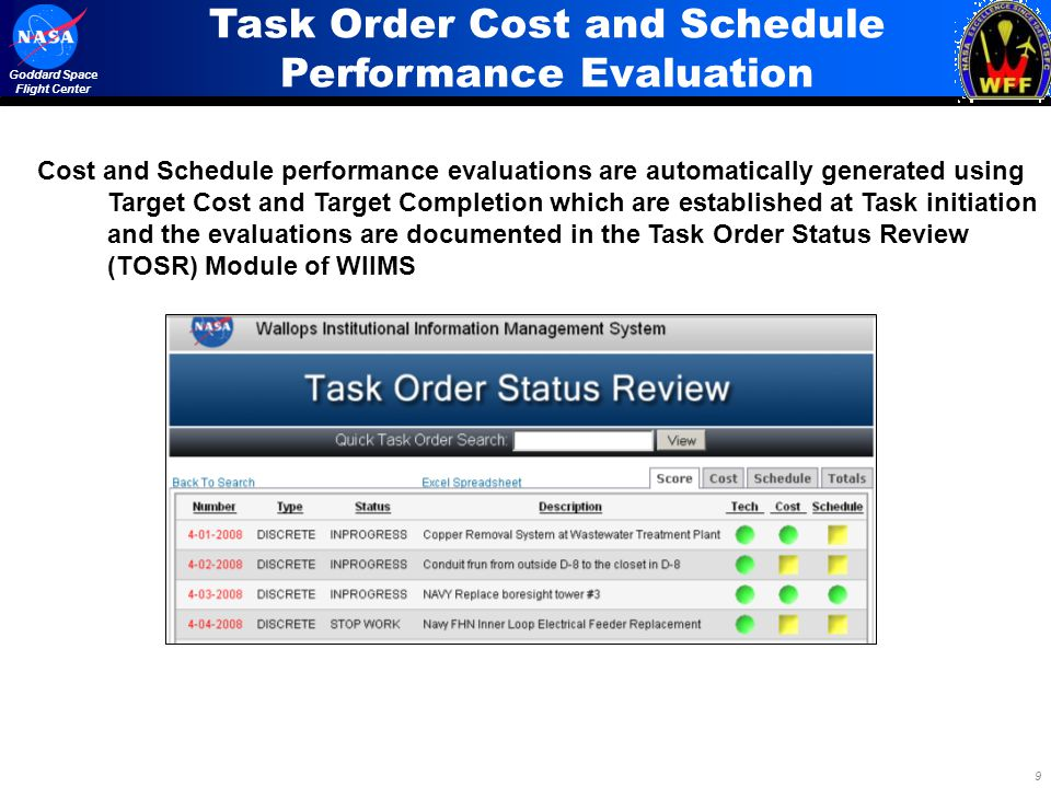 Task Order Cost and Schedule Performance Evaluation