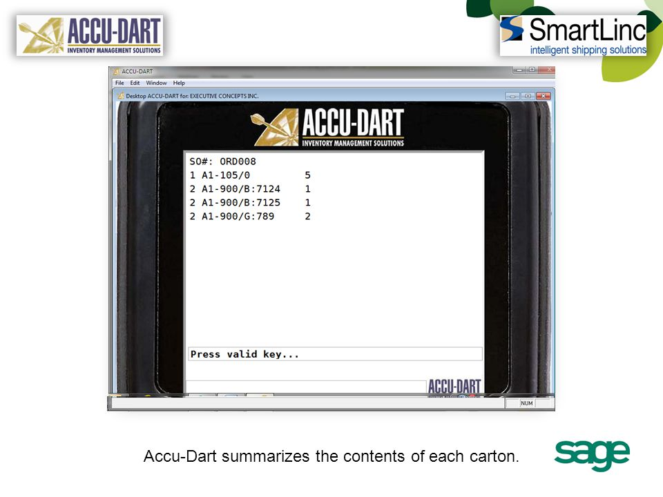 Accu-Dart summarizes the contents of each carton.