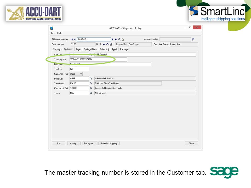 The master tracking number is stored in the Customer tab.