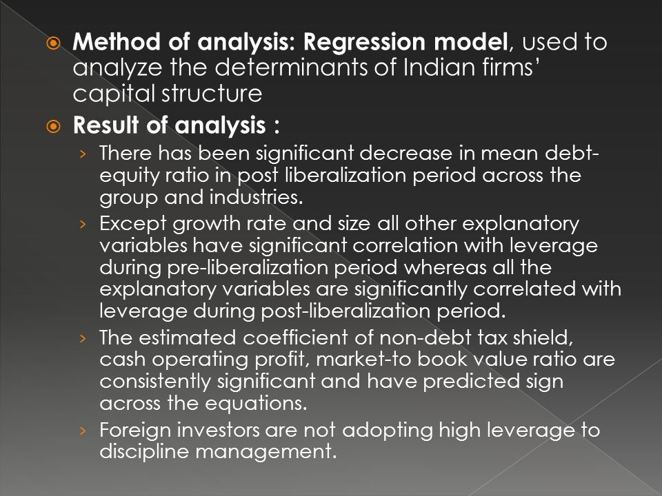 Method of analysis: Regression model, used to analyze the determinants of Indian firms' capital structure