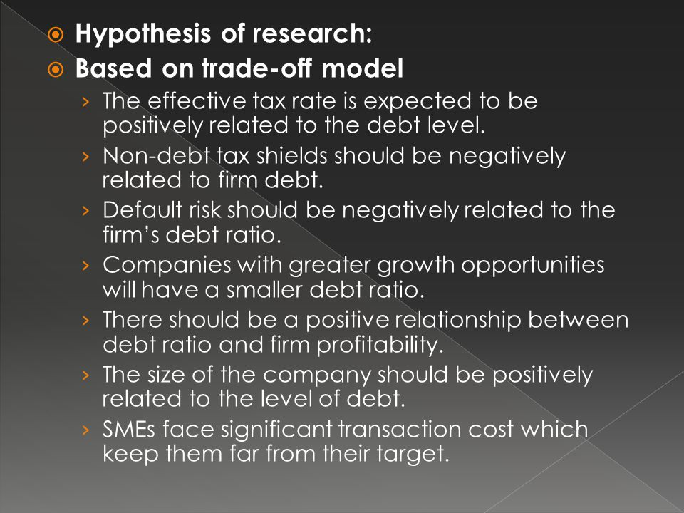 Hypothesis of research: Based on trade-off model