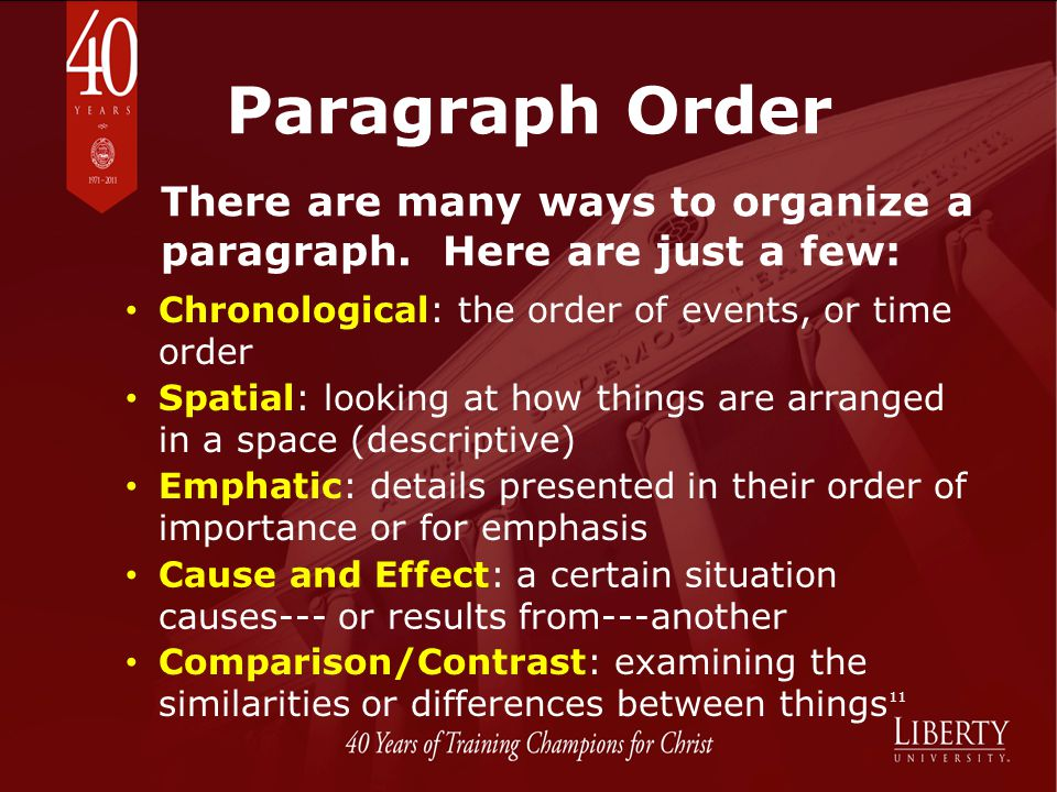 Paragraph Order There are many ways to organize a paragraph. Here are just a few: Chronological: the order of events, or time order.