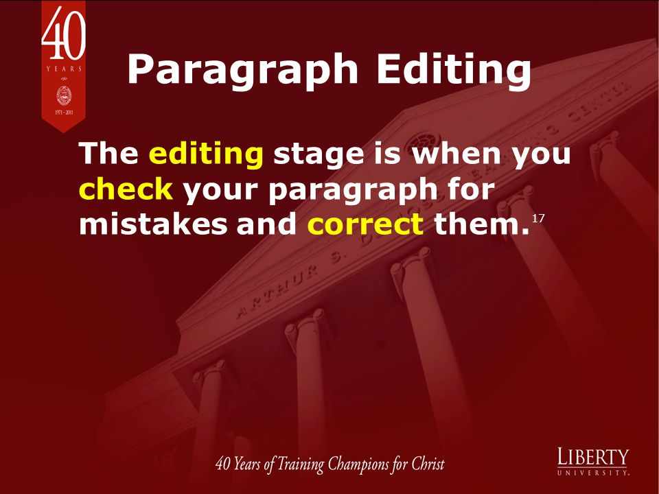 Paragraph Editing The editing stage is when you check your paragraph for mistakes and correct them.17.