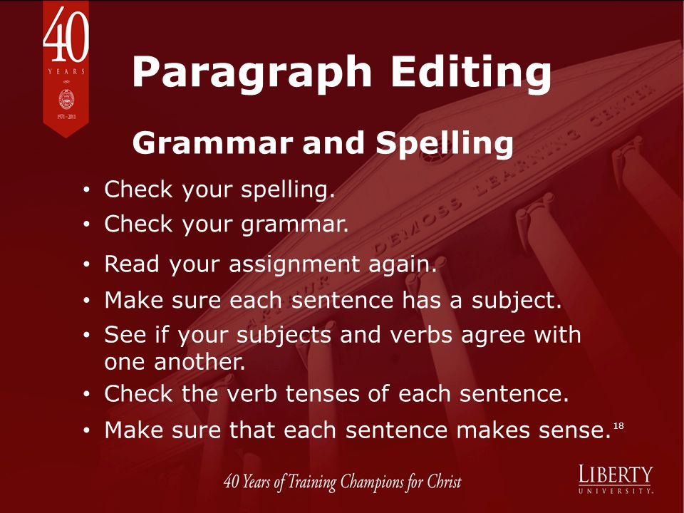 Paragraph Editing Grammar and Spelling Check your spelling.