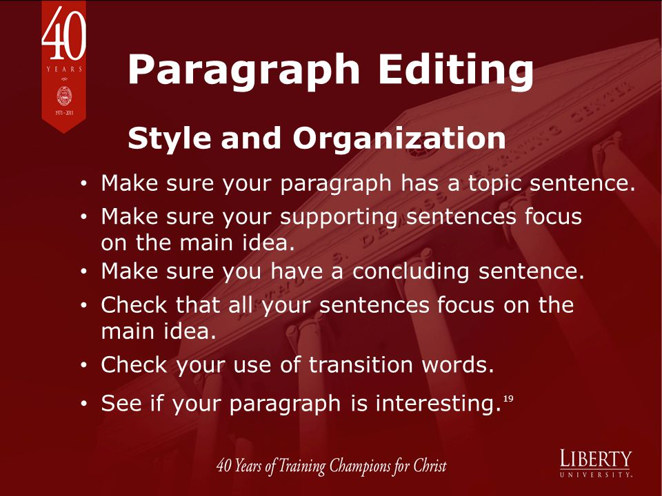 Paragraph Editing Style and Organization