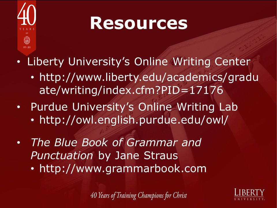 Resources Liberty University's Online Writing Center
