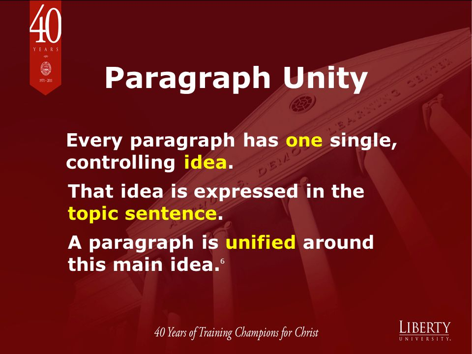 Paragraph Unity Every paragraph has one single, controlling idea.
