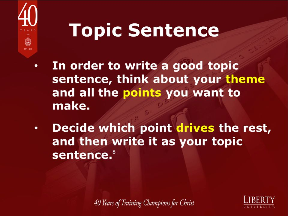 Topic Sentence In order to write a good topic sentence, think about your theme and all the points you want to make.