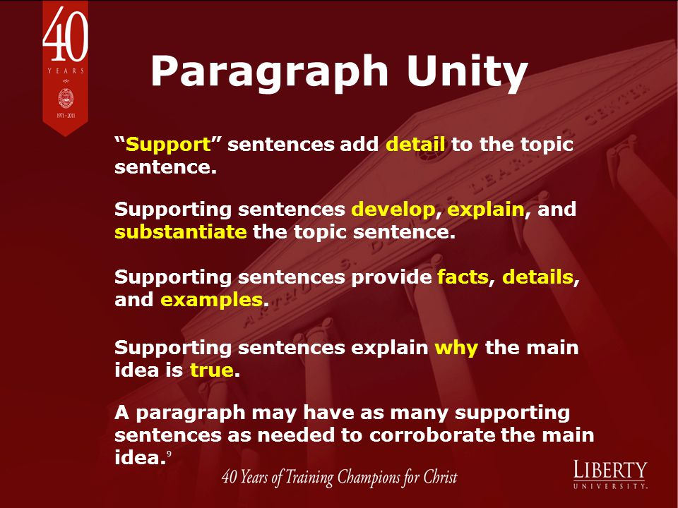 Paragraph Unity Support sentences add detail to the topic sentence.