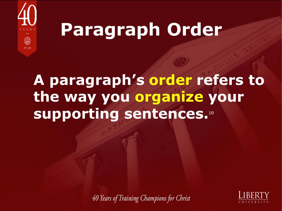 Paragraph Order A paragraph's order refers to the way you organize your supporting sentences.10