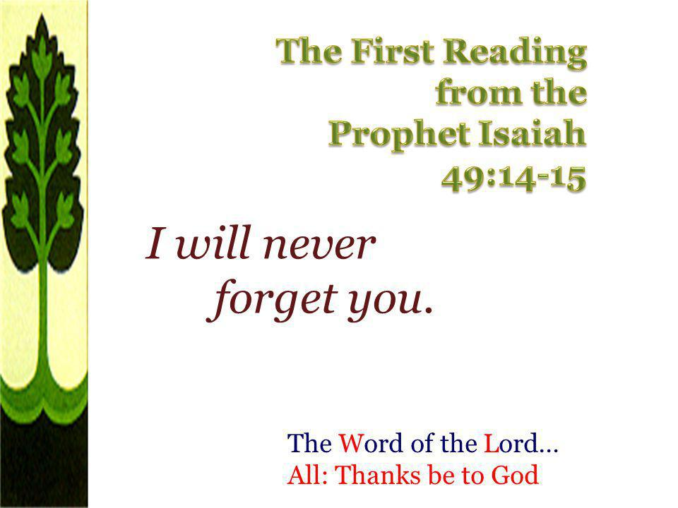 I will never forget you. The First Reading from the Prophet Isaiah