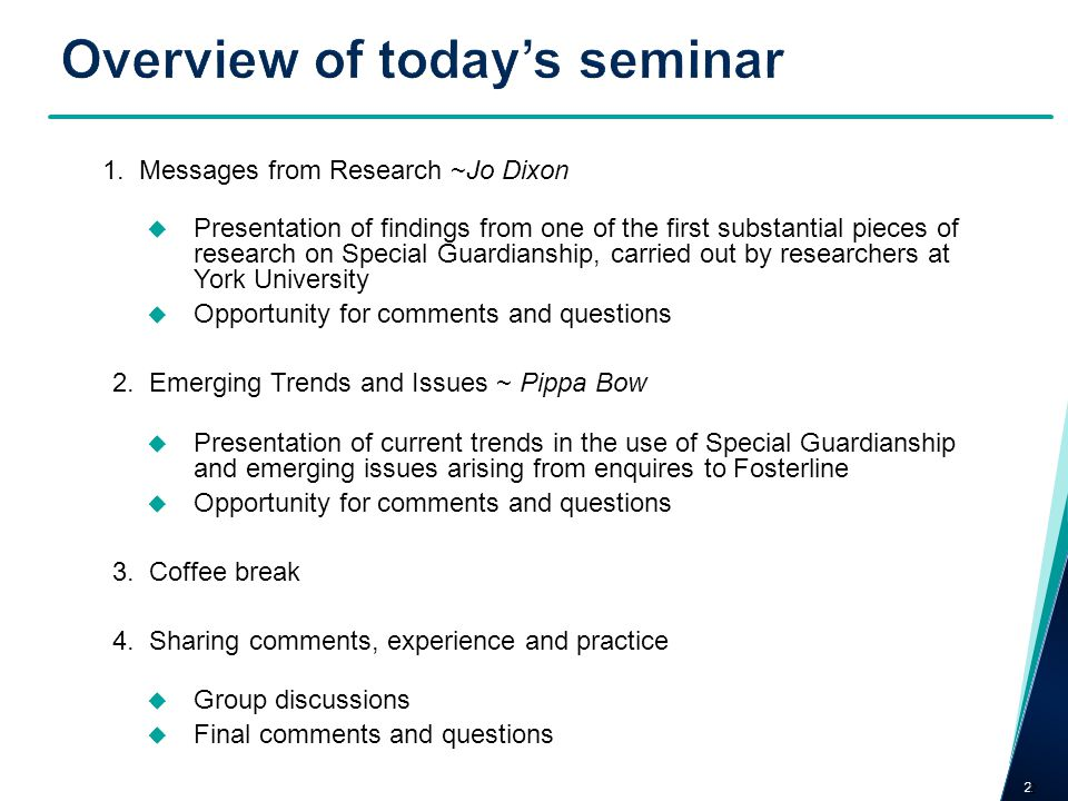 Overview of today's seminar