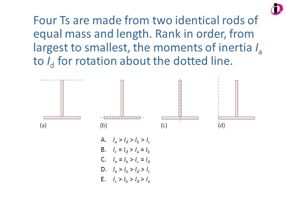 Four Ts are made from two identical rods of equal mass and length