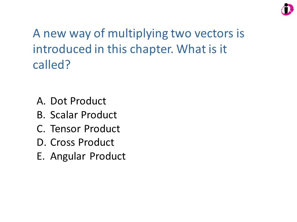 A new way of multiplying two vectors is introduced in this chapter