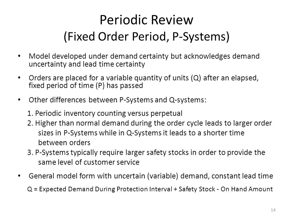 Periodic Review (Fixed Order Period, P-Systems)