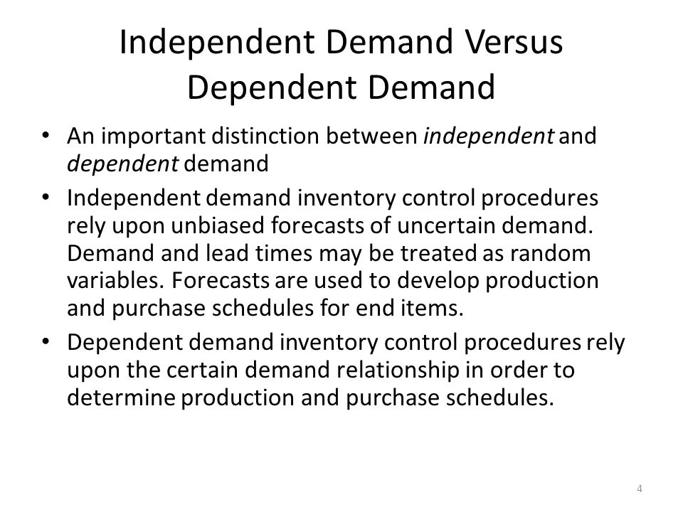 Independent Demand Versus Dependent Demand