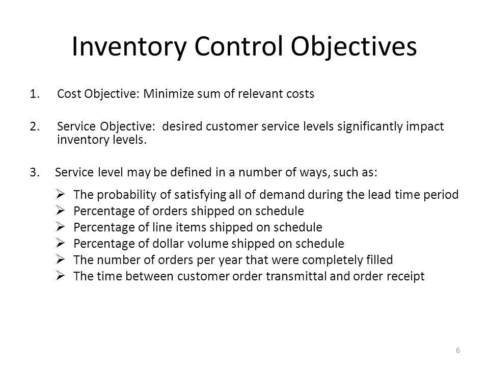 Inventory Control Objectives