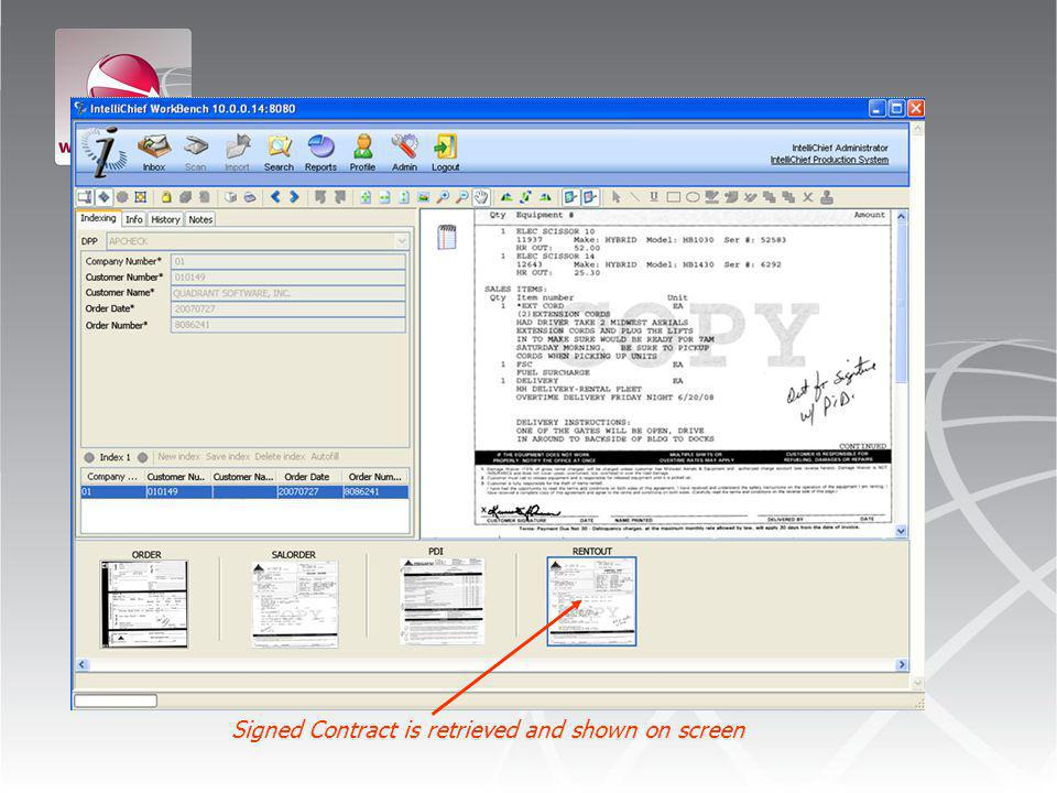 Signed Contract is retrieved and shown on screen