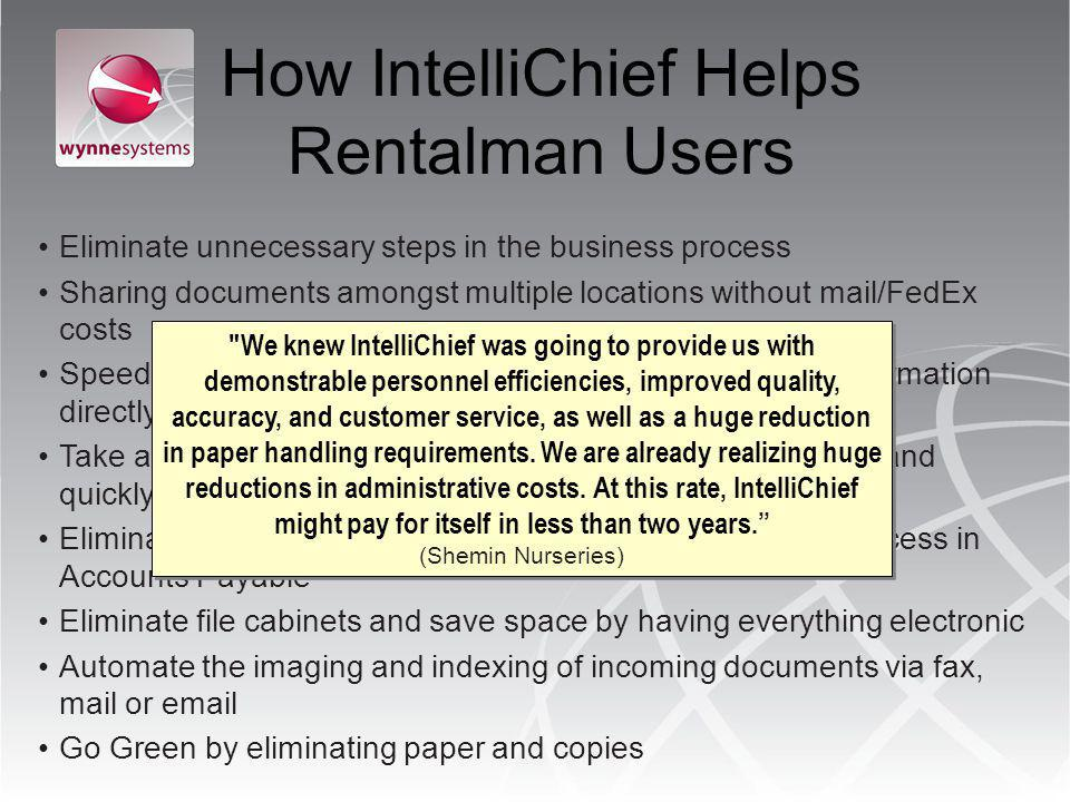 How IntelliChief Helps Rentalman Users