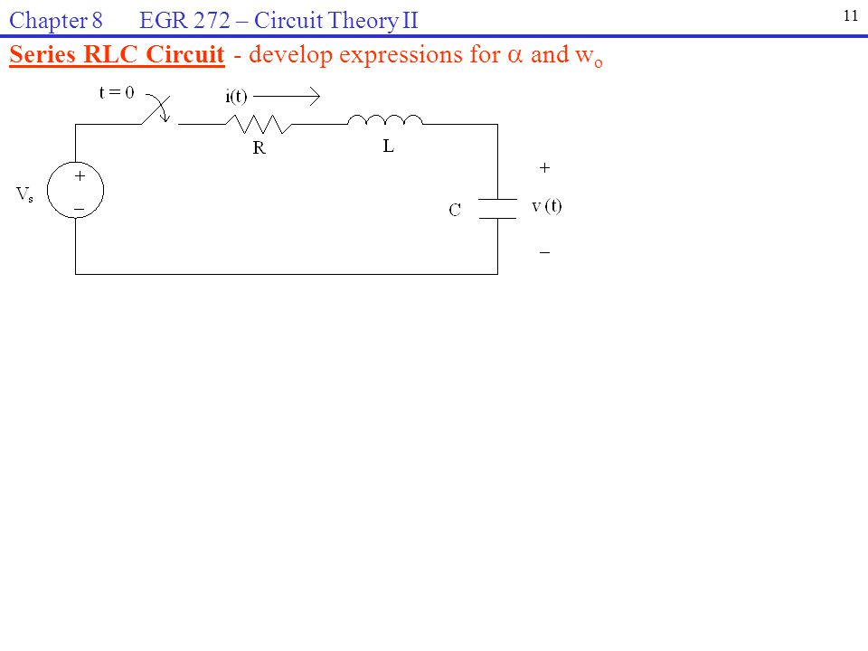 Series RLC Circuit - develop expressions for  and wo