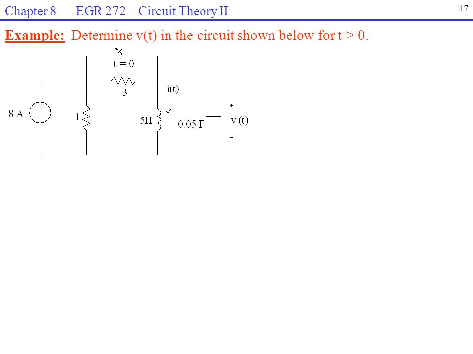 Example: Determine v(t) in the circuit shown below for t > 0.