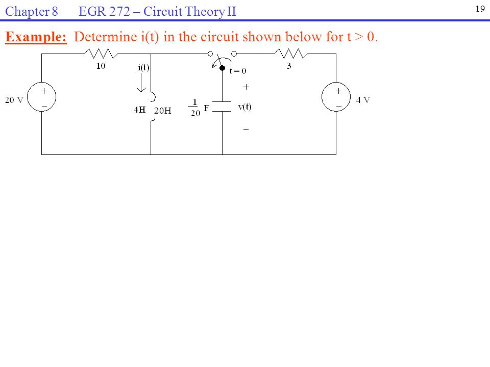 Example: Determine i(t) in the circuit shown below for t > 0.