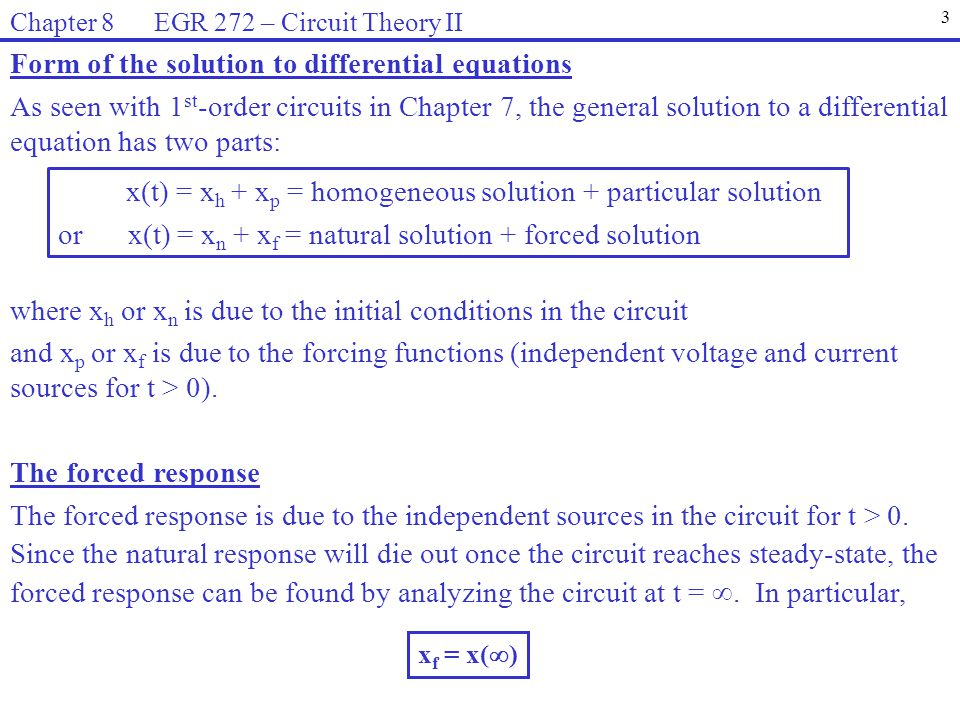 Form of the solution to differential equations