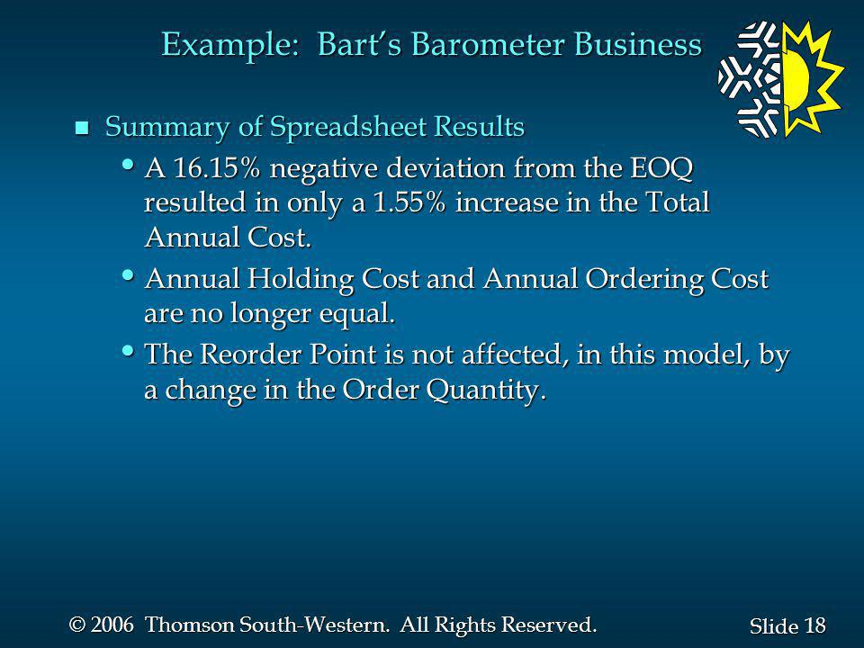Example: Bart's Barometer Business