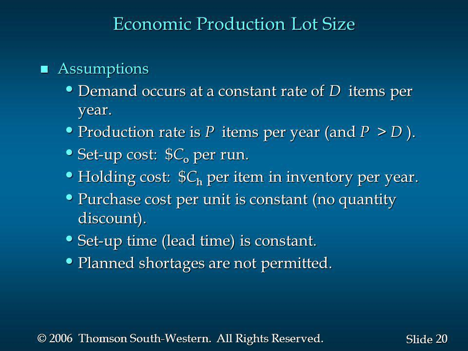 Economic Production Lot Size