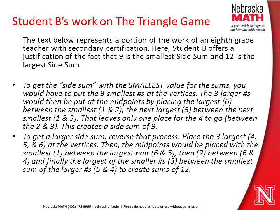 Student B's work on The Triangle Game