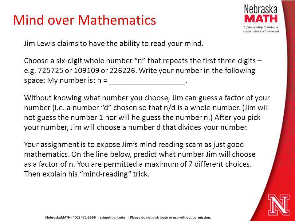 Mind over Mathematics