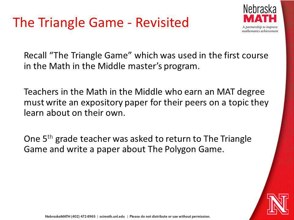 The Triangle Game - Revisited