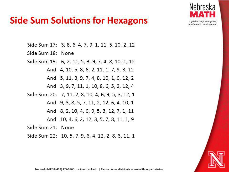 Side Sum Solutions for Hexagons