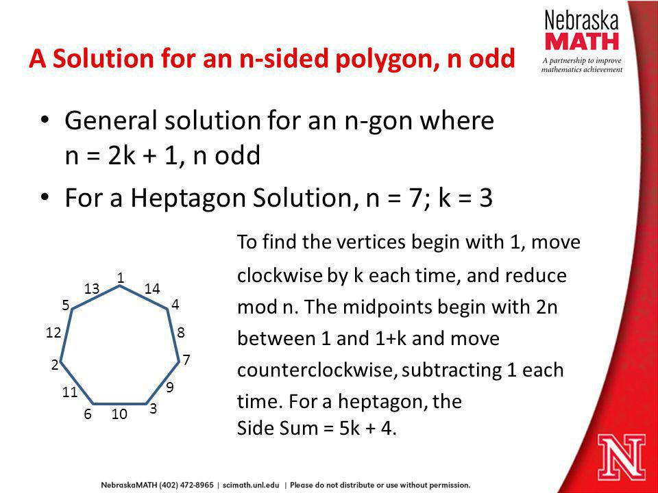 A Solution for an n-sided polygon, n odd
