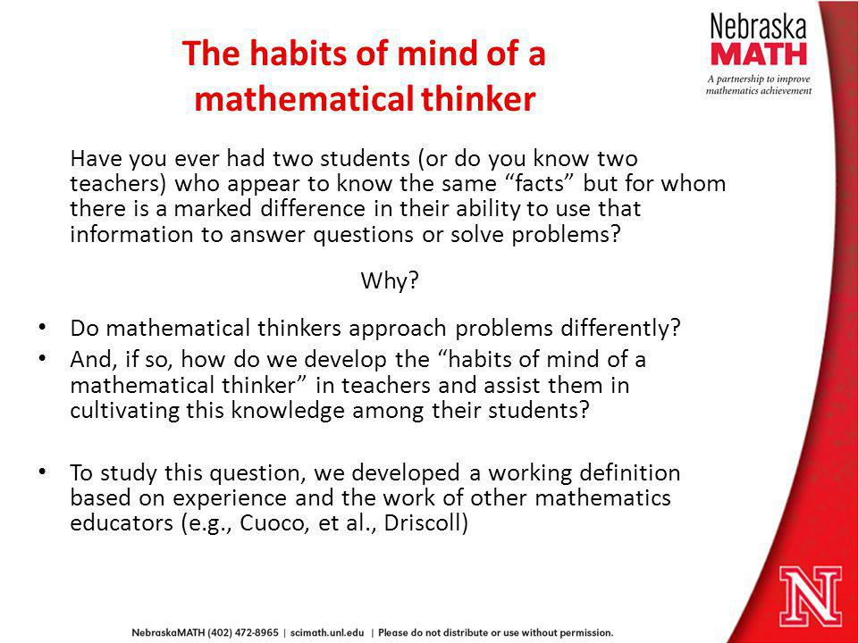 The habits of mind of a mathematical thinker