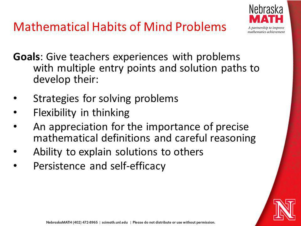Mathematical Habits of Mind Problems