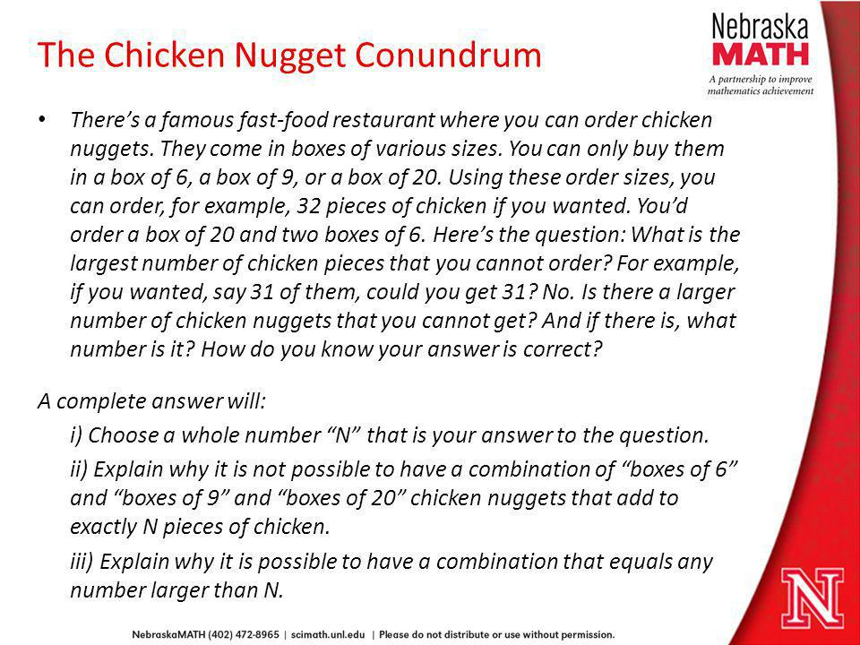 The Chicken Nugget Conundrum