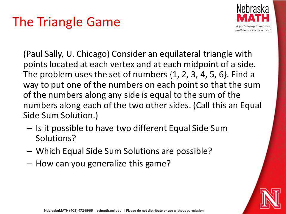 The Triangle Game