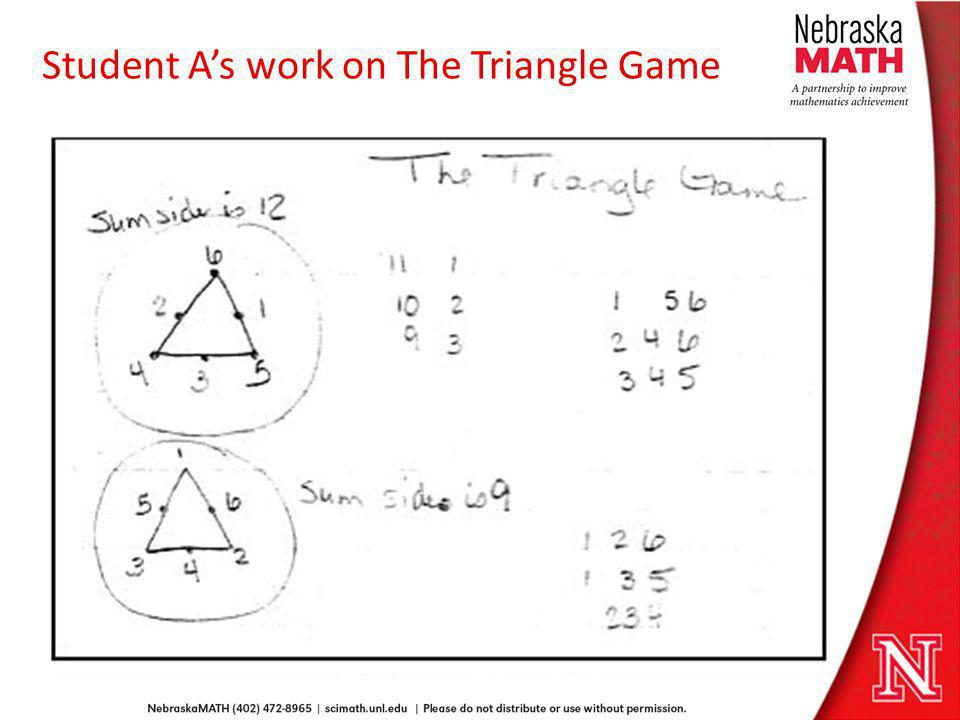 Student A's work on The Triangle Game