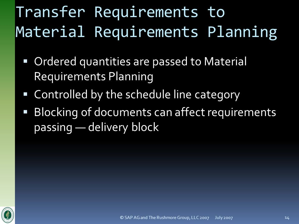 Transfer Requirements to Material Requirements Planning
