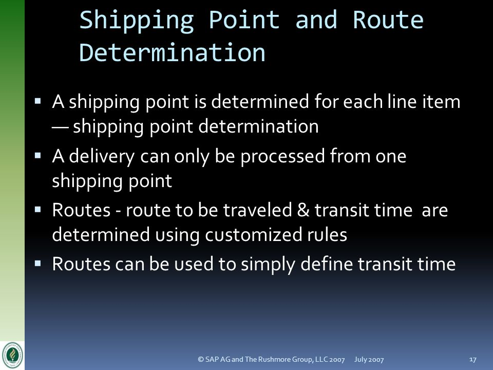 Shipping Point and Route Determination