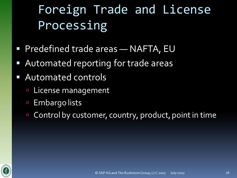Foreign Trade and License Processing